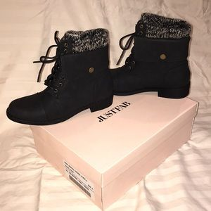 NEW jet black lace up size 6 Just Fab boots.